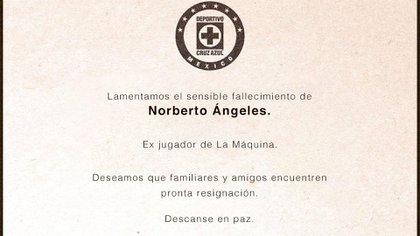 Norberto Ángeles formó parte de Cruz Azul de 1997 a 2003 (Foto: Twitte @ CruzAuzulCD)