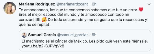 """Mariana Rodríguez clasificó al senador Samuel García como """"el mejor esposo del mundo"""" (Foto: Twitter)"""